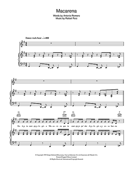 Macarena Sheet Music