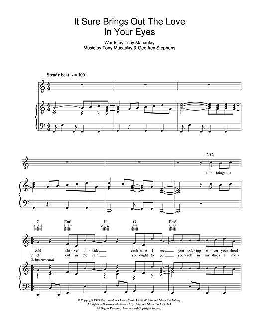 It Sure Brings Out The Love In Your Eyes Sheet Music