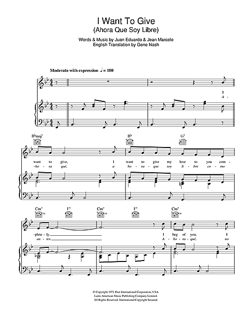 I Want To Give (Ahora Que Soy Libre) Sheet Music