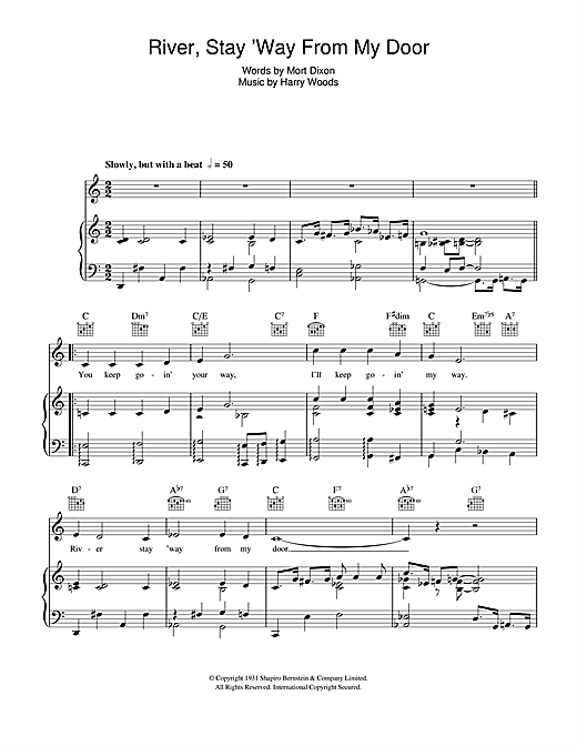 River Stay 'Way From My Door Sheet Music