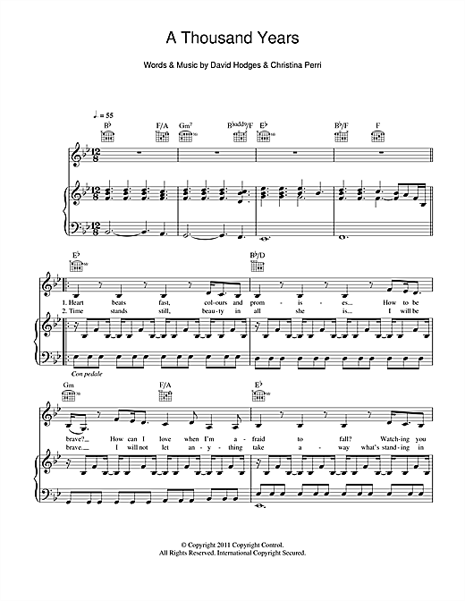A Thousand Years sheet music by Christina Perri (Piano, Vocal u0026 Guitar u2013 113685)