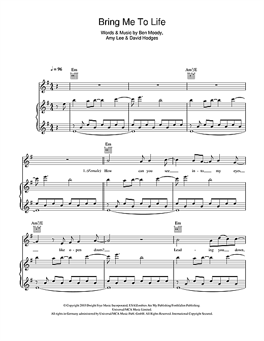 Bring Me To Life Sheet Music