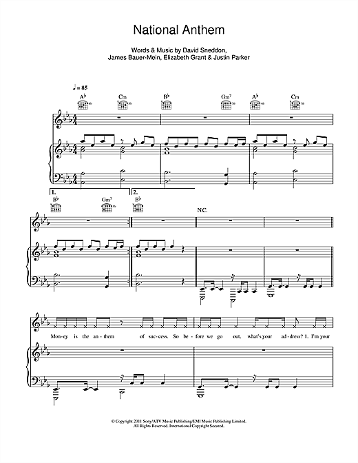 National Anthem sheet music by Lana Del Rey (Piano, Vocal & Guitar ...