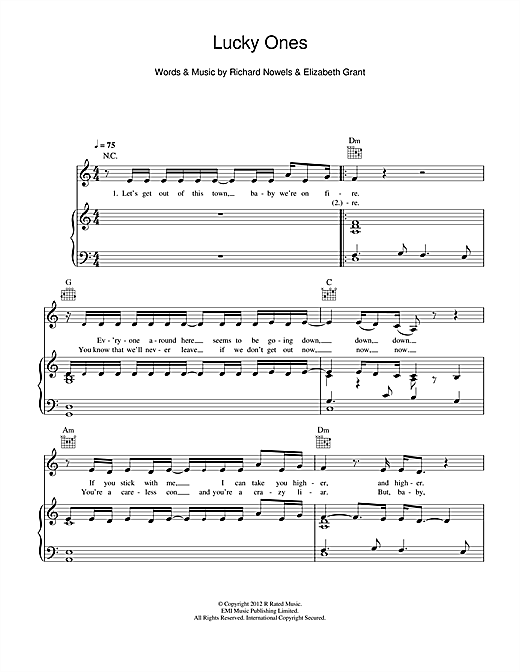 Lucky Ones Sheet Music By Lana Del Rey Piano Vocal Guitar Right