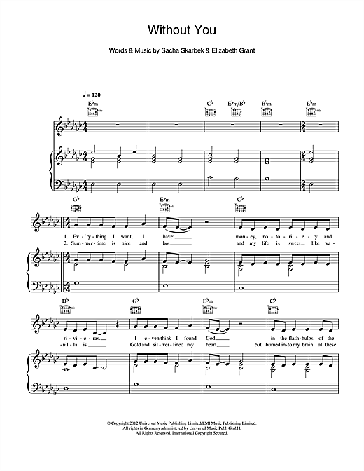 Piano without you piano chords : Without You sheet music by Lana Del Rey (Piano, Vocal & Guitar ...