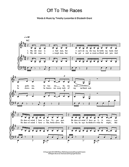 Off To The Races Sheet Music