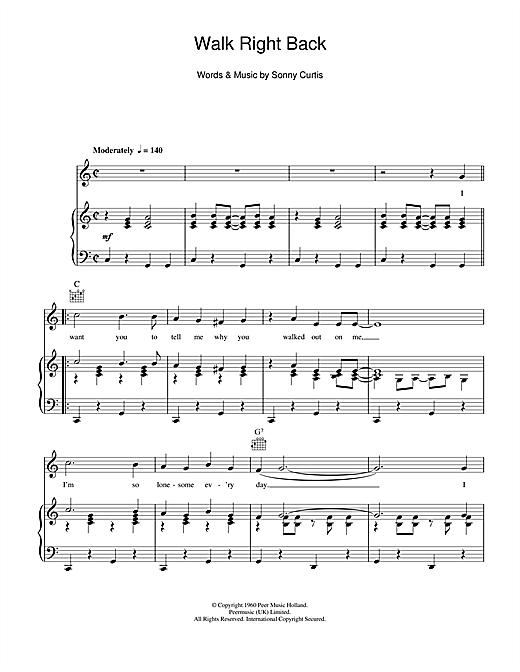 Walk Right Back Sheet Music