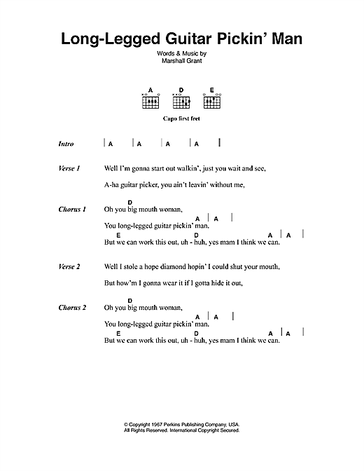 Long Legged Guitar Pickin' Man  Sheet Music