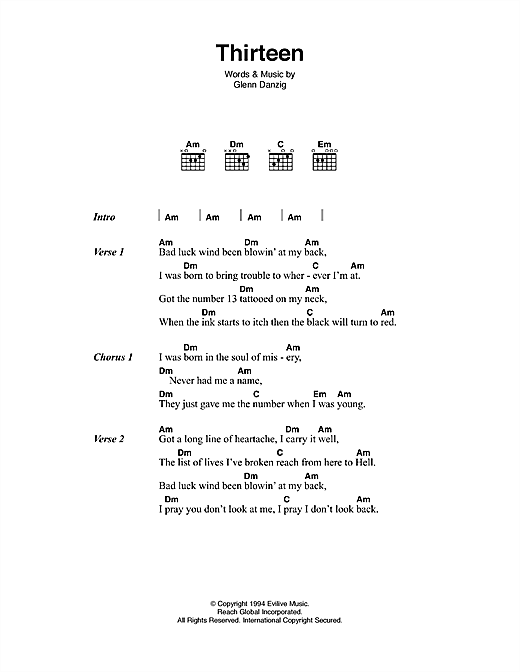 Thirteen Sheet Music