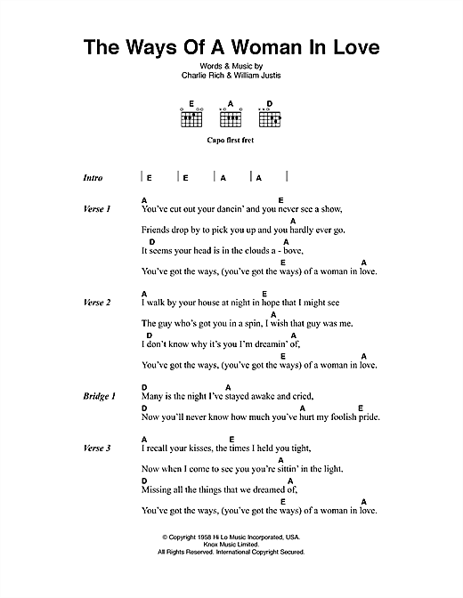 The Ways Of A Woman In Love Sheet Music
