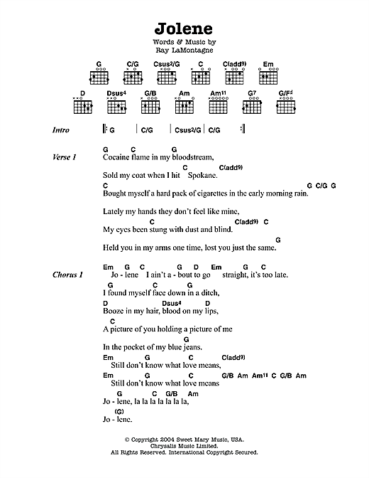 Jolene sheet music by Ray LaMontagne (Lyrics & Chords – 113737)
