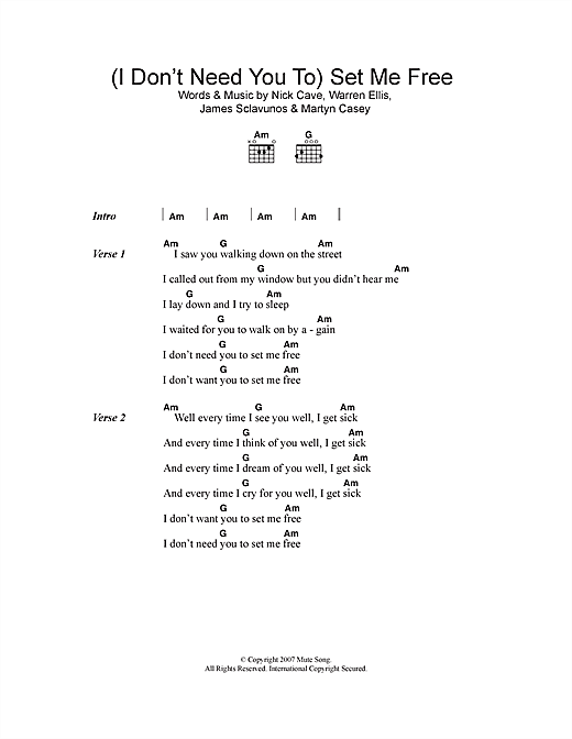 (I Don't Need You To) Set Me Free (Guitar Chords/Lyrics)