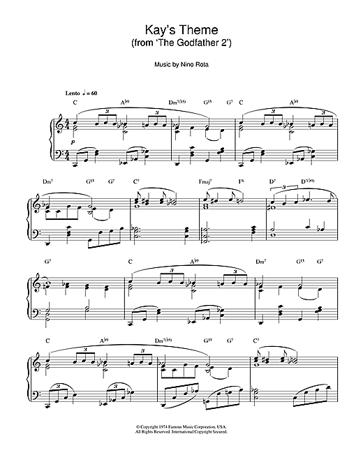 Kay's Theme (from 'The Godfather 2') Sheet Music