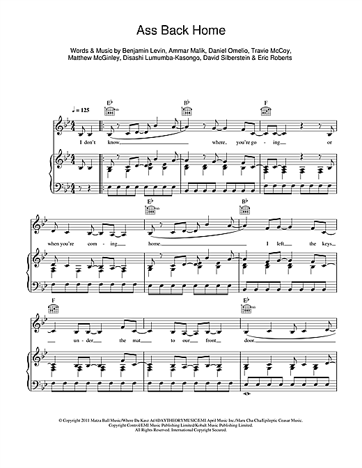 Ass Back Home (feat. Neon Hitch) Sheet Music