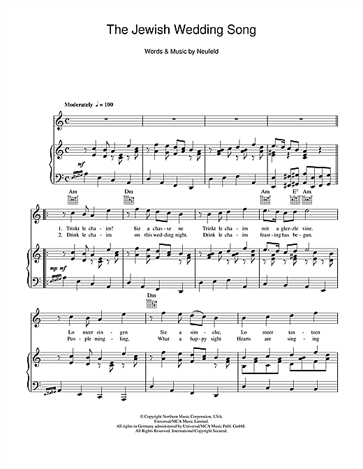The Jewish Wedding Song Sheet Music