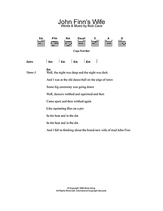 John Finn's Wife (Guitar Chords/Lyrics)