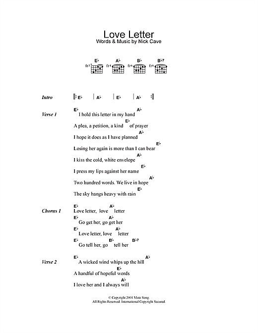 Love Letter Sheet Music By Nick Cave Lyrics Chords 113845