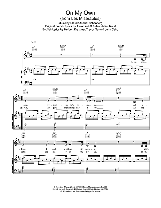 Partition piano On My Own (from Les Miserables) de Military Wives - Piano Voix Guitare