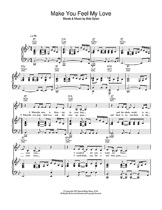 Make You Feel My Love Sheet Music
