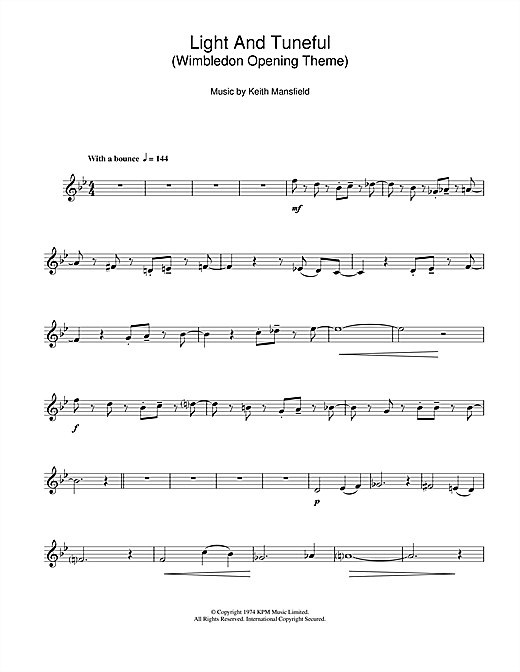 Light And Tuneful (Wimbledon Opening Theme) Sheet Music