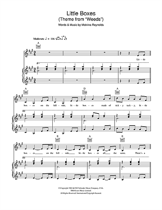 "Little Boxes (Theme from ""Weeds"") (feat. Adrienne Stiefel) Sheet Music"