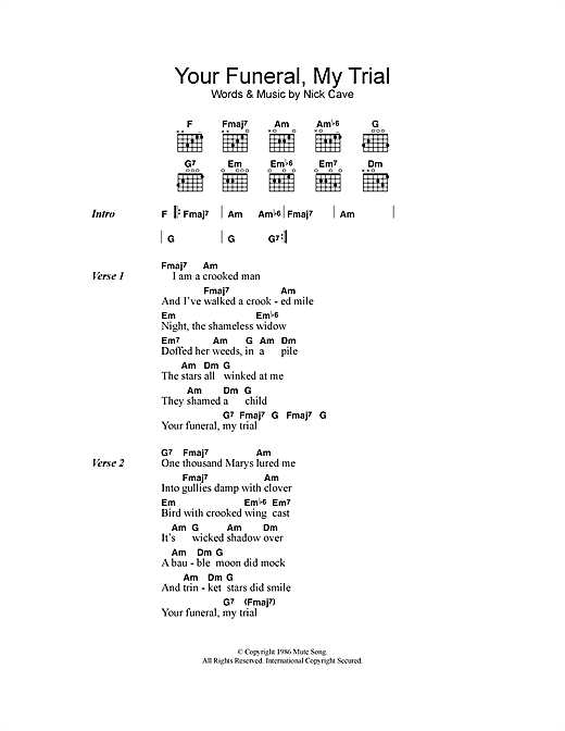 Your Funeral, My Trial sheet music by Nick Cave (Lyrics & Chords ...