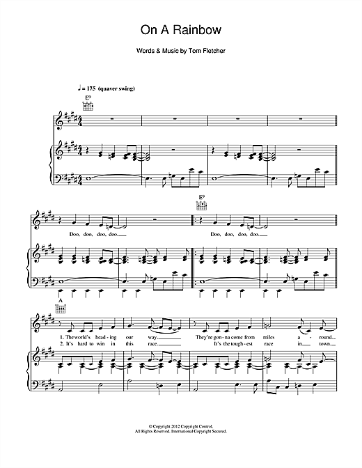 Partition piano On A Rainbow de Tom and Carrie Fletcher with the West Leigh Junior School Choir - Piano Voix Guitare (Mélodie Main Droite)