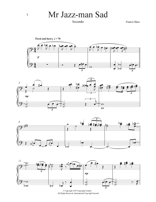 Mr Jazz Man Sad Sheet Music
