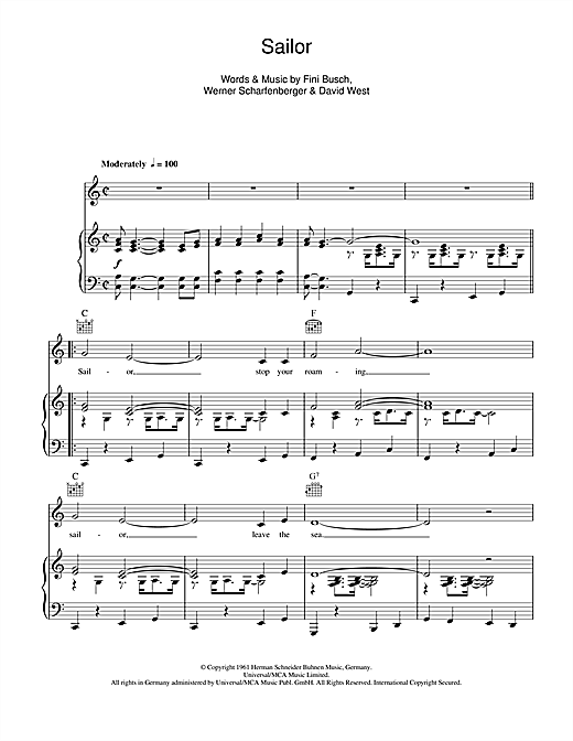 Sailor Sheet Music