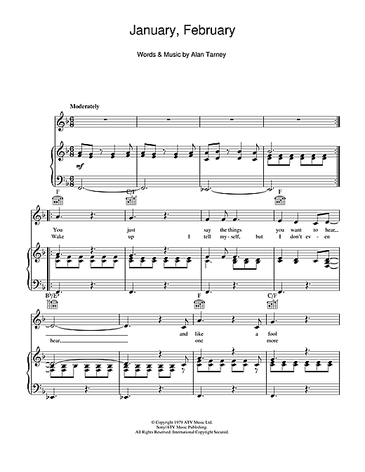 January, February Sheet Music