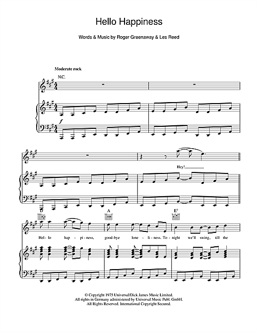 Hello Happiness Sheet Music