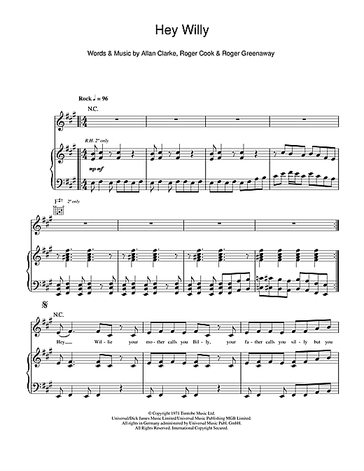 Hey Willy Sheet Music