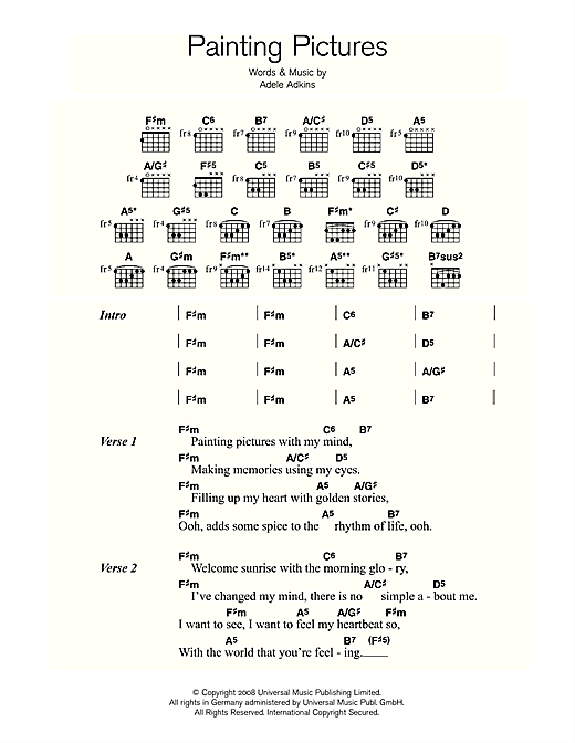 Painting Pictures Sheet Music By Adele Lyrics Chords 113981