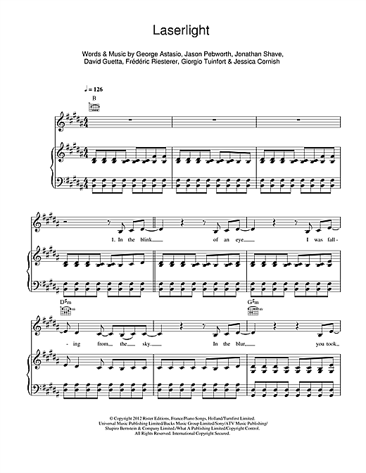 Laserlight sheet music by Jessie J (Piano, Vocal u0026 Guitar (Right-Hand Melody) u2013 113983)