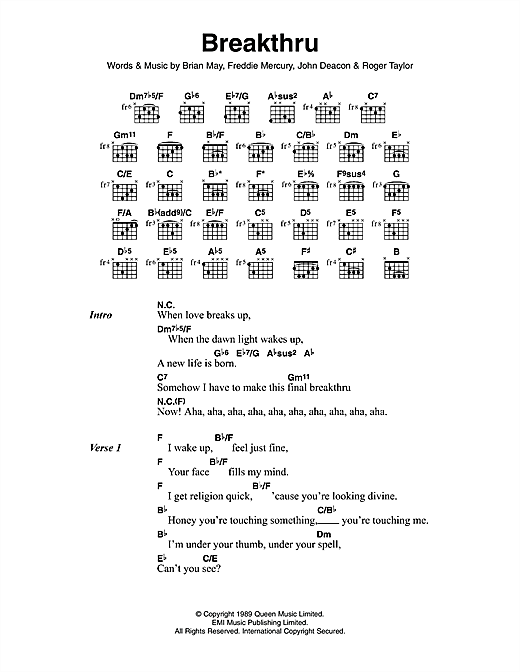Breakthru Sheet Music