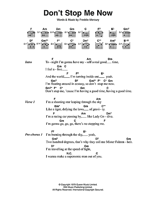 Don\'t Stop Me Now sheet music by Queen (Lyrics & Chords – 114003)