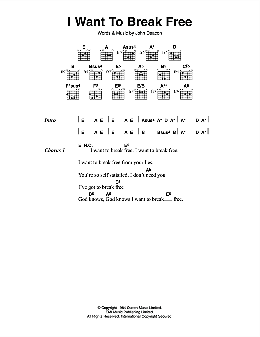 I Want To Break Free Sheet Music By Queen Lyrics Chords 114023