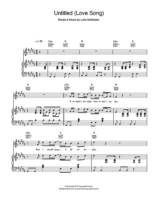 Untitled (Love Song) Sheet Music
