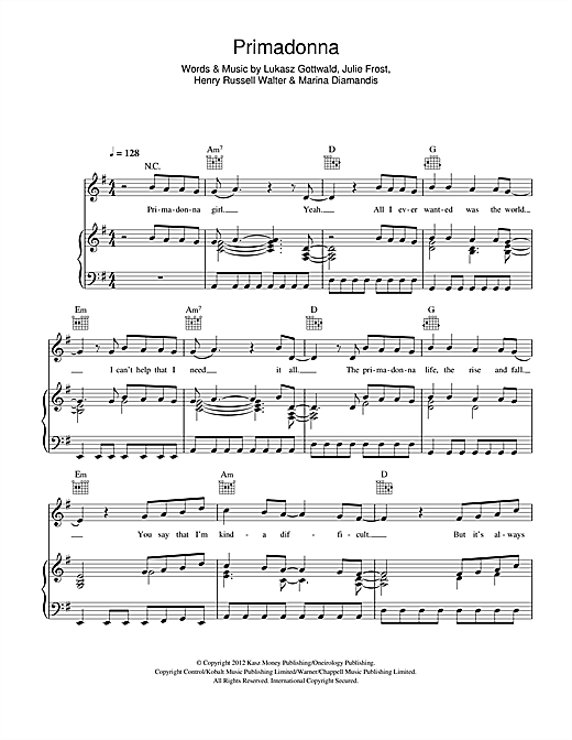 Primadonna (Piano, Vocal & Guitar (Right-Hand Melody))