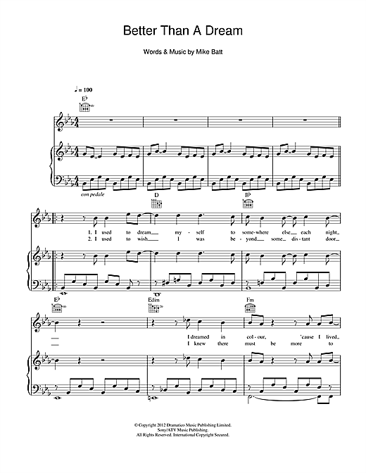 Better Than A Dream Sheet Music