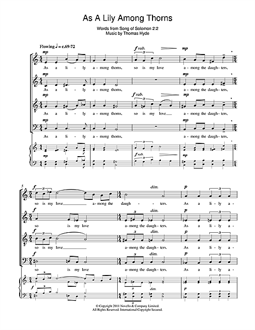 Partition chorale As A Lily Among Thorns de Thomas Hyde - SATB
