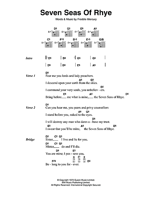 Seven Seas Of Rhye (Guitar Chords/Lyrics)
