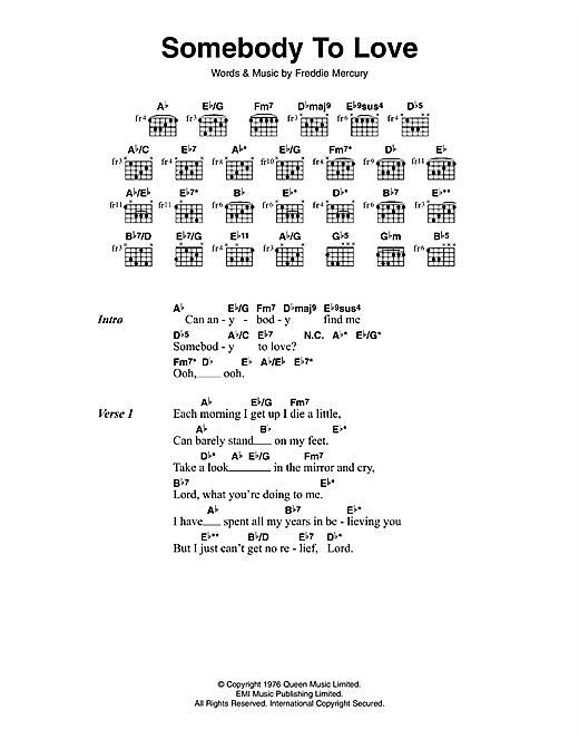 Guitar u00bb Guitar Chords Queen Somebody To Love - Music Sheets, Tablature, Chords and Lyrics