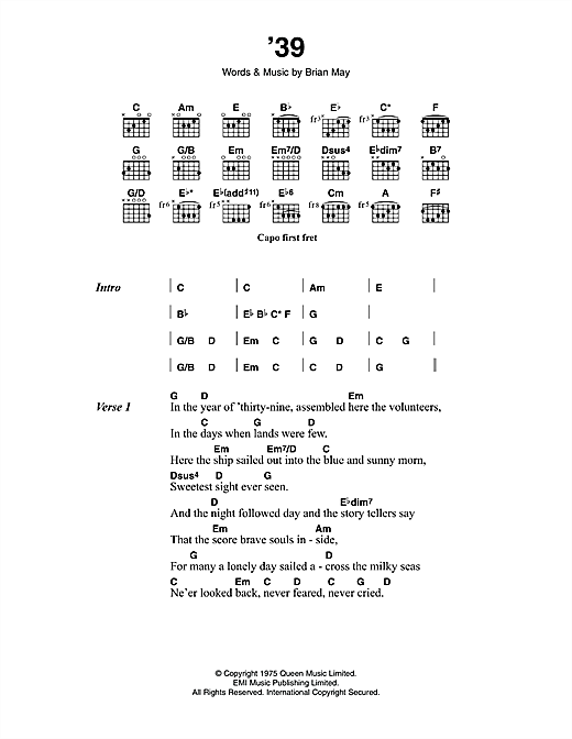'39 (Guitar Chords/Lyrics)