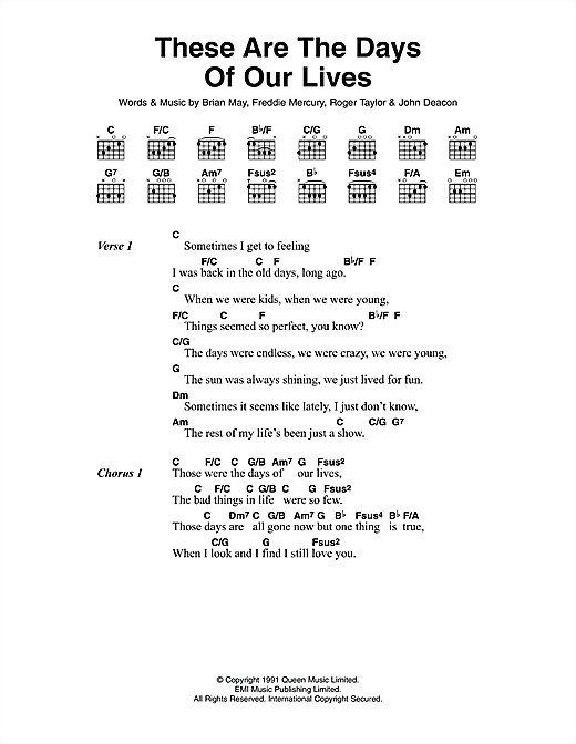 These Are The Days Of Our Lives (Guitar Chords/Lyrics)