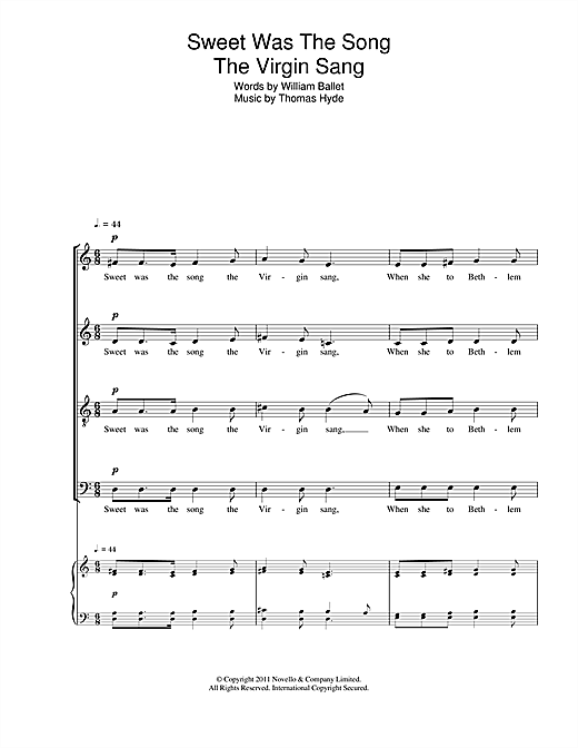 Partition chorale Sweet Was The Song The Virgin Sang de Thomas Hyde - SATB