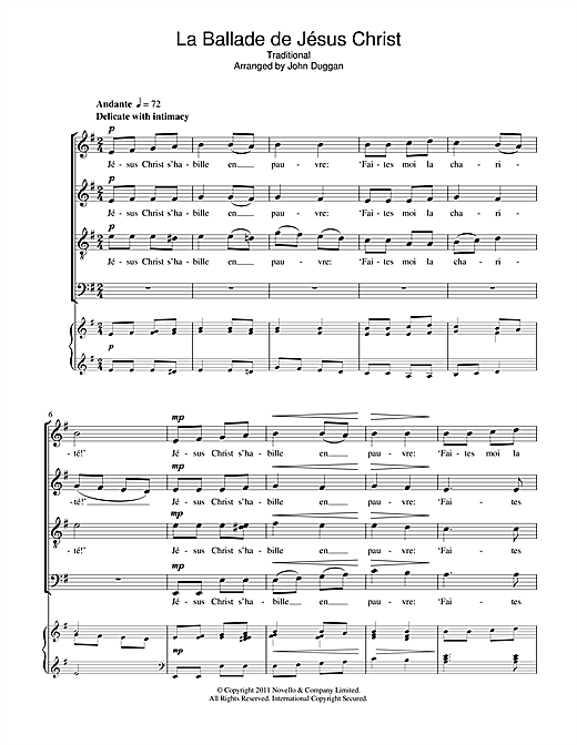 La Ballade De Jésus Christ Sheet Music
