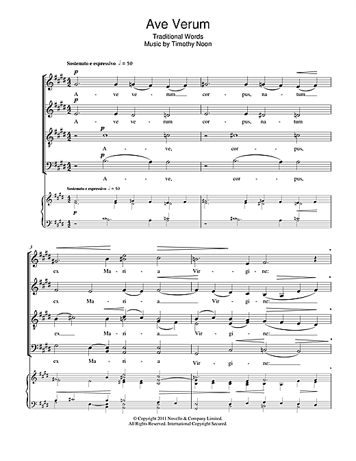 Partition chorale Ave Verum de Timothy Noon - SATB