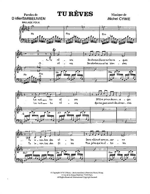 Tu Reves Sheet Music