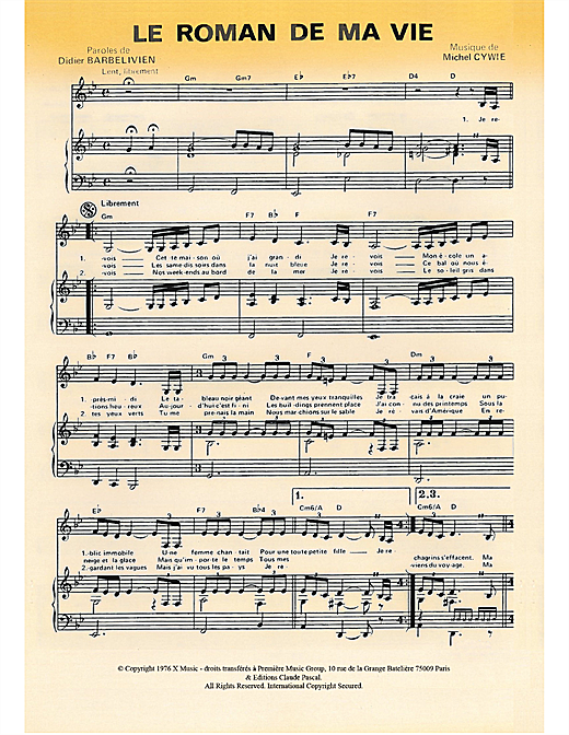 Le Roman De Ma Vie Sheet Music